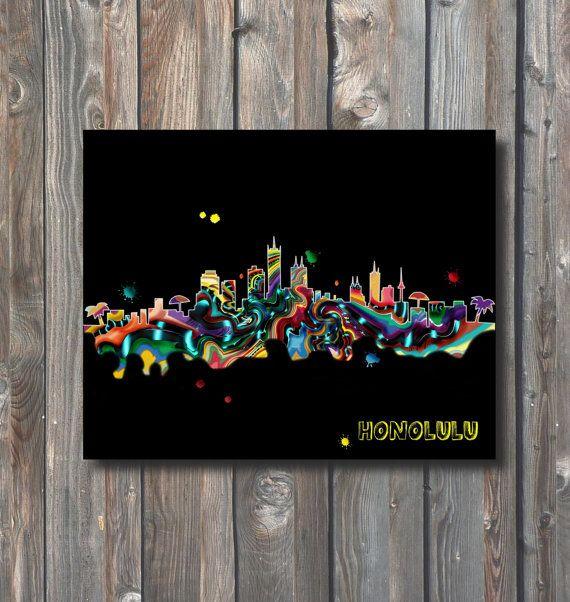 PRINTABLE Honolulu Skyline Wall Art-Printable by HappyFiestaDesign