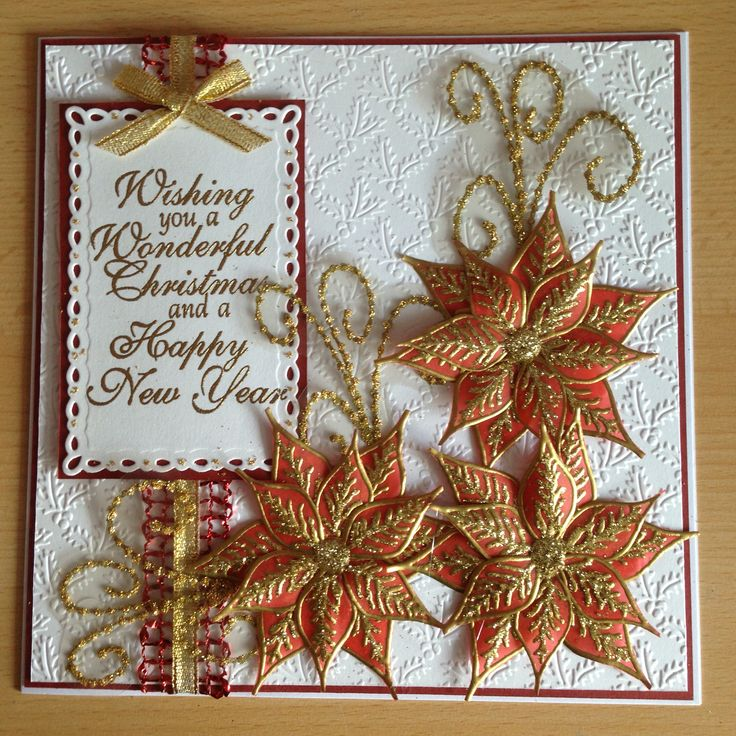 Christmas card using Chloe poinsettia stamp, greeting, swirl and embellishments from my craft stash