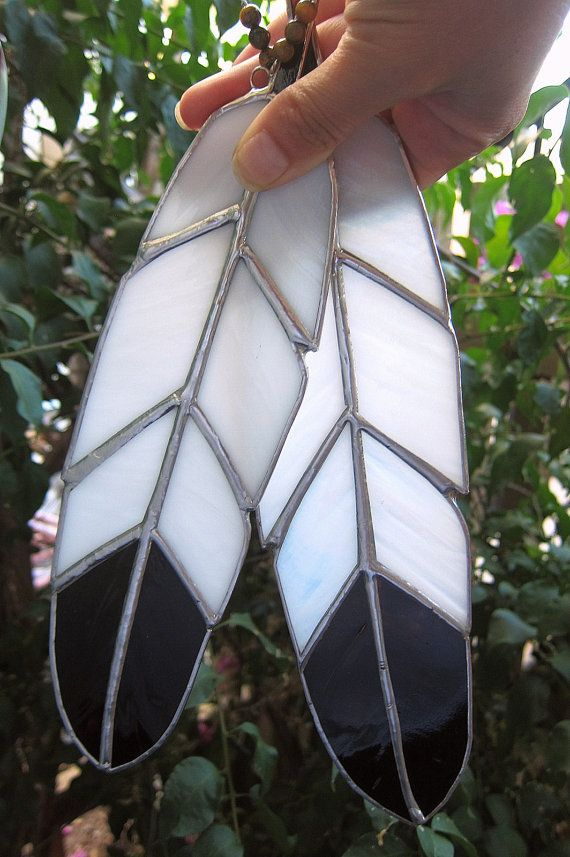 Eagle Spirit Feather Stained Glass Suncatcher by LotusLabs on Etsy