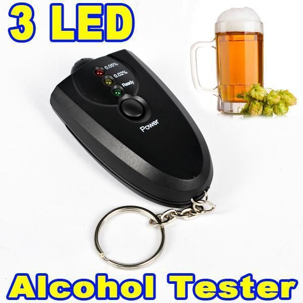 Alcohol Tester Breathalyser Keyring Yellow