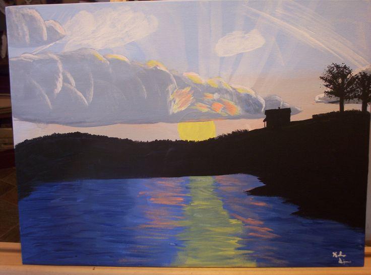 Cool lake sunset HD - Simple Elegant lake painting HD