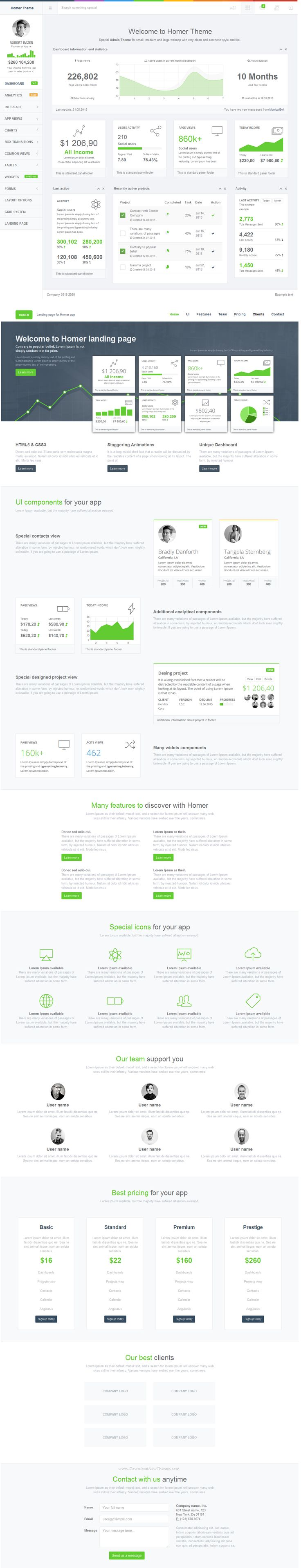 HOMER Admin Theme is a premium admin dashboard theme with flat design concept. It is fully responsive admin dashboard template built with Bootstrap 3+ Framework, HTML5 and CSS3, LESS, Media query, AngularJS, Grunt and Bower. It has a main collection of reusable UI components and integrated with latest jQuery plugins. It can be used for all type of small and medium webapp. It comes with Landing Page Template #webdesign #admintemplate