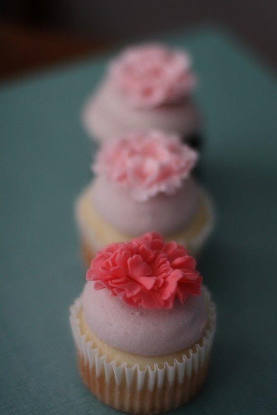 Carnation Fondant Flower Cupcake