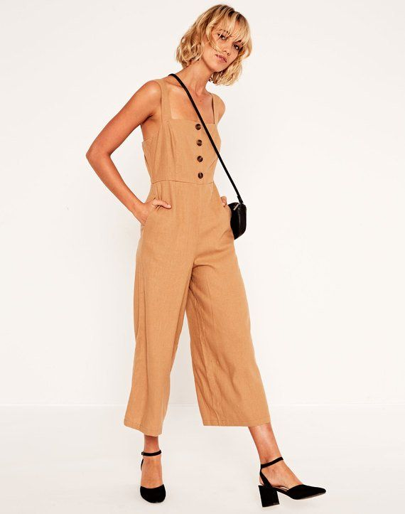 Linen Blend Button Jumpsuit Toffee Tan | Button jumpsuits, Jumpsuit, Clothes