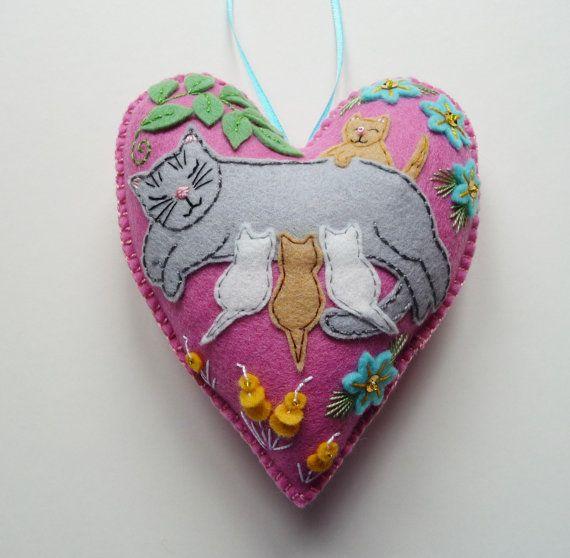 Maman+chat+et+chatons+mère+chat+ornement+par+heartfeltwhimsy