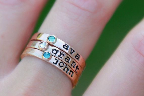 Hand Stamped Stacking Birthstone Ring  I hand make these rings out of 14K yellow gold-filled, 14K pink (rose) gold-filled and fine sterling silver. Since each ring is hand made from scratch...hammered, stamped, sanded, soldered, and polished, your ring will have a beautiful organic and rustic look, which adds to the charm and uniqueness of being made by hand!  Each band is 2.5mm - 3mm wide.  These new 3mm cubic zirconia gemstones were made just for my shop, so you will not find them anywhere…