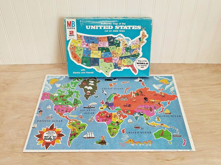 Vintage United States Puzzle World Map Puzzle Double Sided Puzzle Milton Bradley Puzzle 1975 World Puzzle Authentic Map 2 Maps in 1 Puzzle by HipCatRetroVintage on Etsy