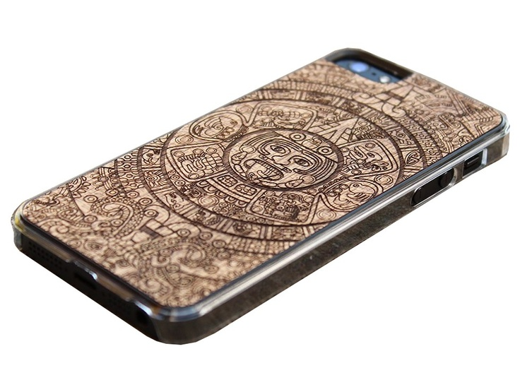 Carved hard wood skin for iPhone