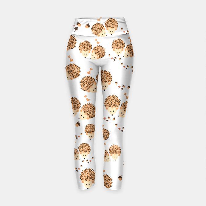 Hedgehogs in autumn Leggings de yoga #hedgehogs, #hedgehog, #cartoon, #illustration, #animals, #leggings ,  #yoga