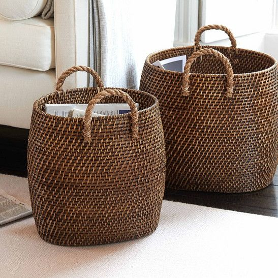 Beautiful tapered baskets with jute handles. Hundreds of uses all around the home.