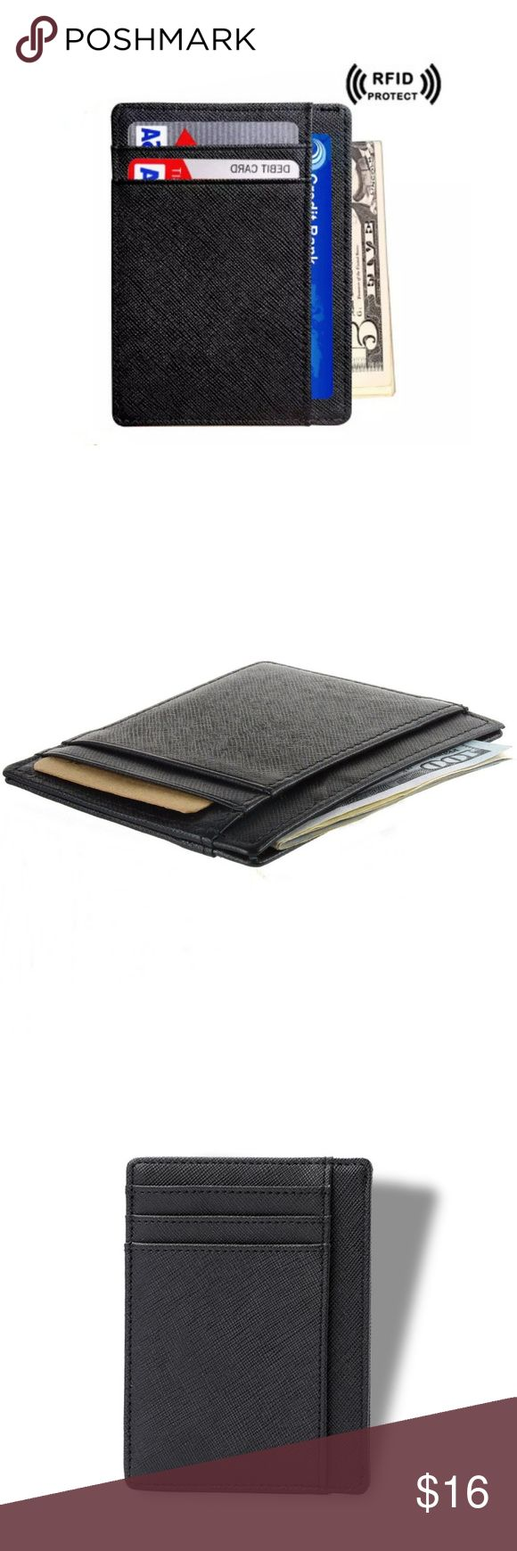 """Slim Wallet Ultra Thin Pocket Wallet RFID Blocking Wallet. Blocking will be effective for contactless new Credit/Debit Cards as well as HID i Class newer cards. Older access cards with 125 KHz frequency will not be effected.  Measures: 4"""" x 3 1/4"""" x 1/8"""" - 6 Card Slots  1 Larger Card/Money/Receipt Pocket - Top Center Access  Ultra Slim Professional Business Card Case or Wallet. Compact Design for Front or Back Pocket Wear  For cash &  1. Credit/debit card  2. ID card  3. Driver license Bags Wallets"""