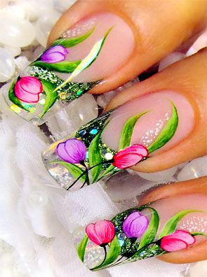 Uñas largas decoradas - Long Nail Art                              …