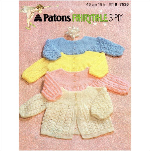 Patons Fairytale matinee coats four patterns Knitting Pattern 7536 on eBid United Kingdom