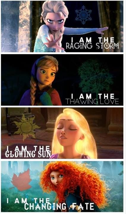 Elsa, Anna, Rapunzel and Merida, the four seasons