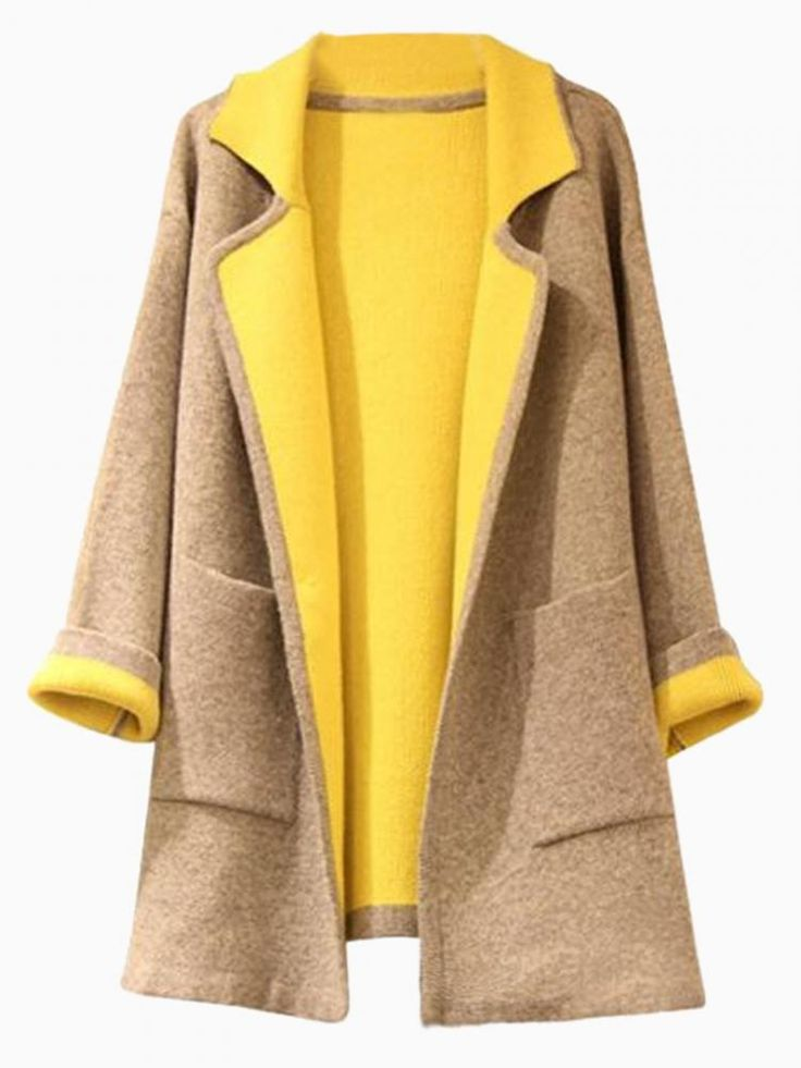 Contrast Lapel Coat - Choies.com