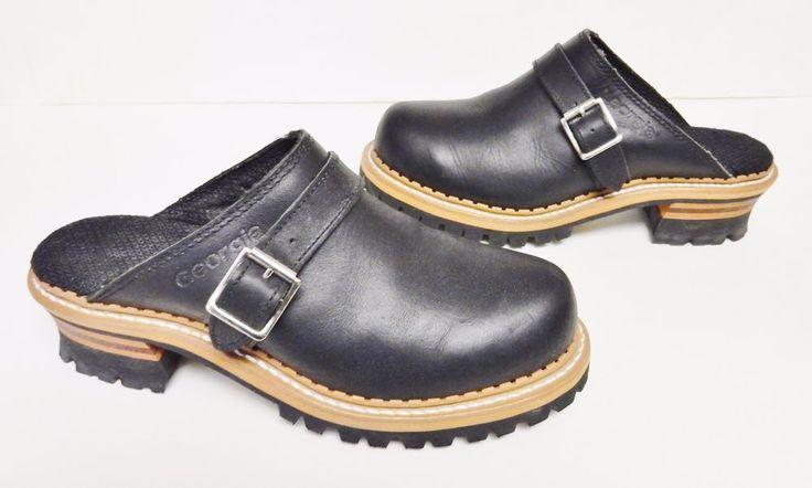 RARE GEORGIA BOOTS Oil Leather Mules Boots Shoes Harness Biker Clogs Black 8 M  #GEORGIABOOTS #BikerBoots #Alloccasion