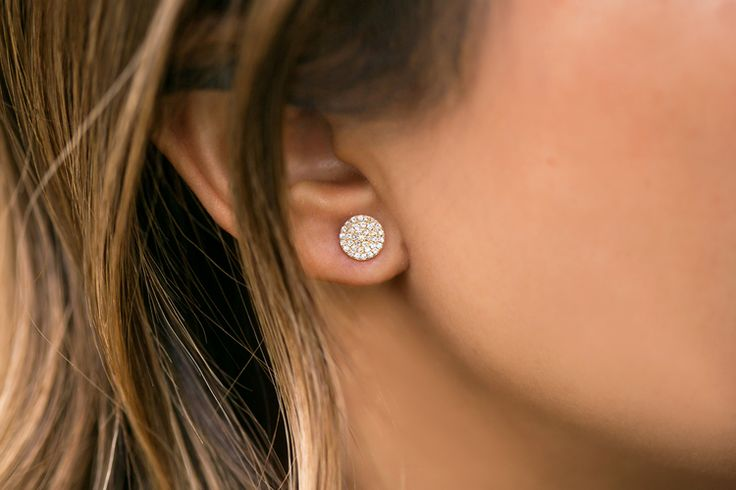 Our very popular Diamond Disc Earrings come in a petite size now! Regular size pictured here on fashion blogger Lace & Locks   Atheria Jewelry