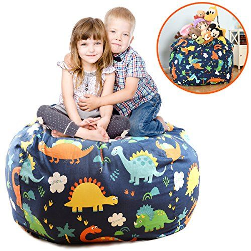 EXTRA LARGE Stuffed Animals Bean Bag Chair Cover-100% Cotton Canvas Kids Toy Storage Zipper Bags, Stuff N Sit Comfy Pouf For Unisex Boys Girls Toddlar, Dinosaur Print - The Ultimate Storage stuffed animal Bean bag Cover Has Just Been Released! Parents Wait No More! Fed up with floors full of toys? stepping on stuffed animals all the time? kids' toys taking over the room? cheaply made beanbag chairs? small toy boxes and bulky storage chests? If so, then Brolex ha...