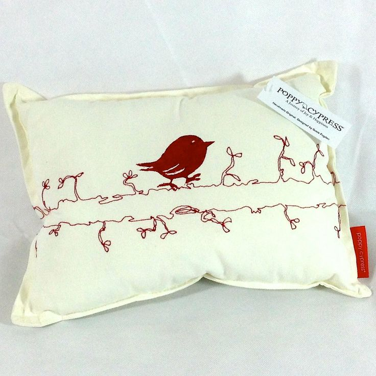 Poppy Cypress - Small Signature Bird Cushion - Red #handmade #cushions #home #gifts