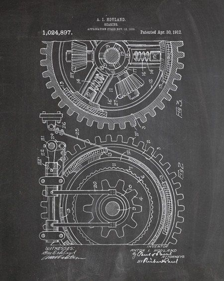 You will love this unique archive print of a 1912 Gears Assembly patent, presented as a vintage industrial or steampunk style drawing. It is part of our curated collection of the most unique, novel an
