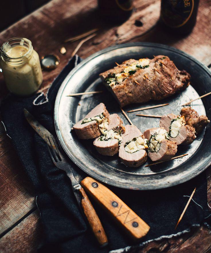 Filets de porc farcis aux pommes, fromage de chèvre et épinards