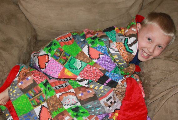 Minecraft Blanket with Red Minky Dot fabric by LilPumpkinsCSE, $85.00