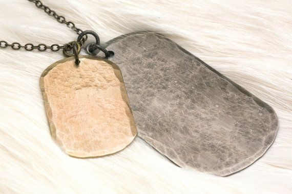 DOUBLE DOG TAG : Mixed Metal Mens Dog Tag Necklace by LeighLuna