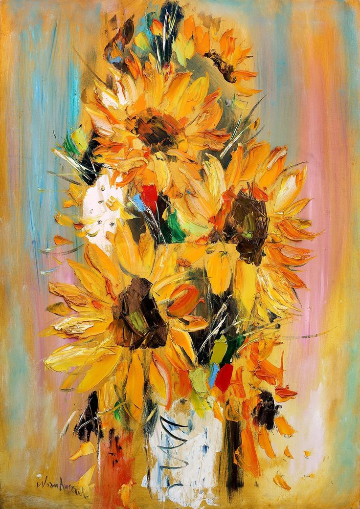 "Original Large Impasto Sunflower oil painting on Canvas Modern Flowers Wall art decor by IvMarART. ""Sunflowers"" Original oil painting on canvas made by Ivan Angelov. The painting has bold impasto structure. Size: 25,6 x 36 inches. Ships with FedEx 2-4 days to arrive. It stretched on wooden stretchers. You can easily hang it like that or frame and it would look beautiful on your wall or it could be a great gift for an art admirer. We make our art with great passion and care so we would be..."