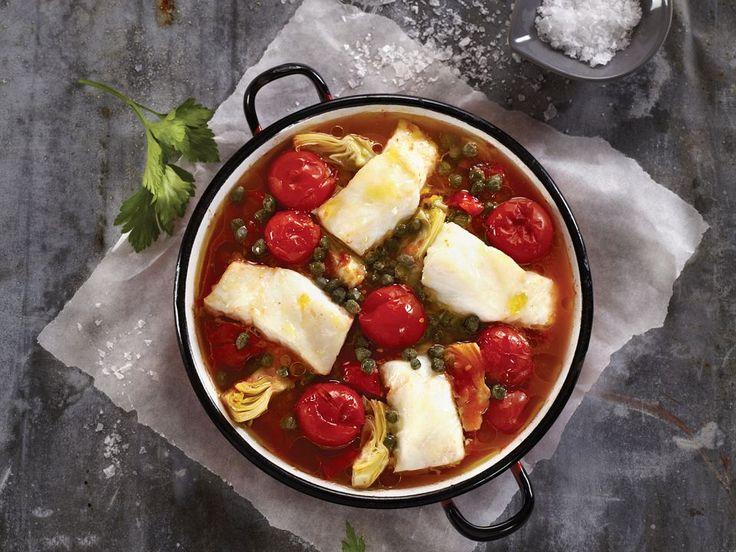Ovnsbakt skrei med tomater, artisjokk og kapers | Mat Fra Norge