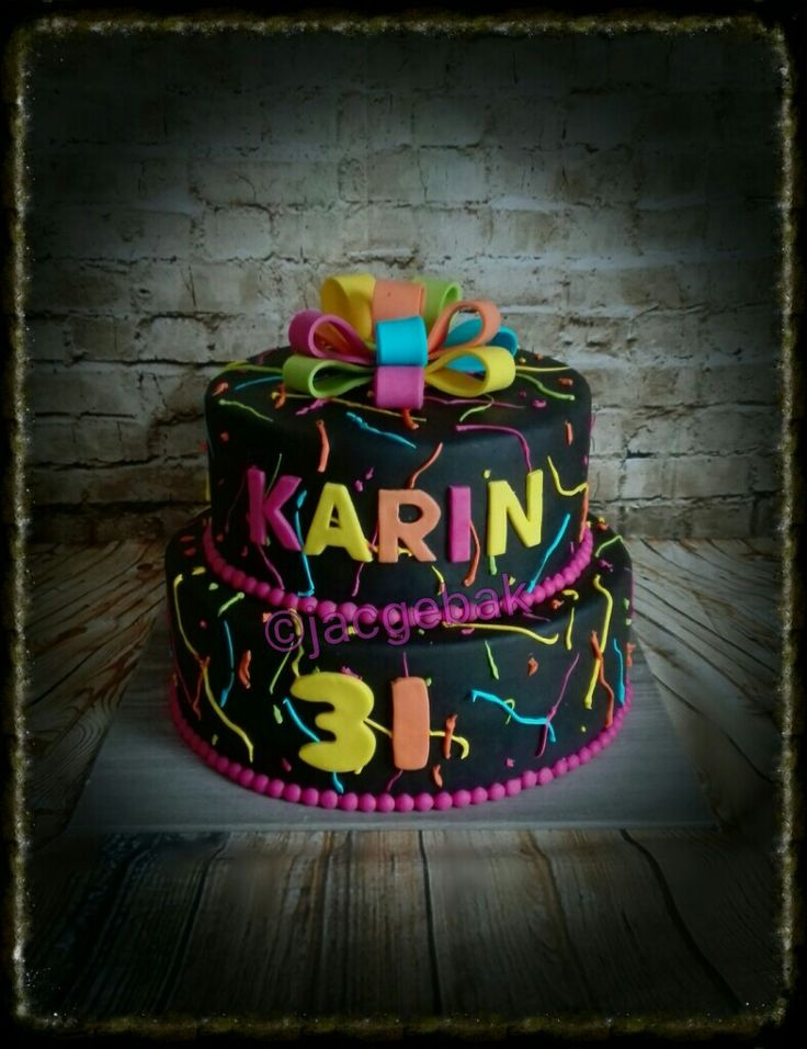 Black cake with Bright colors