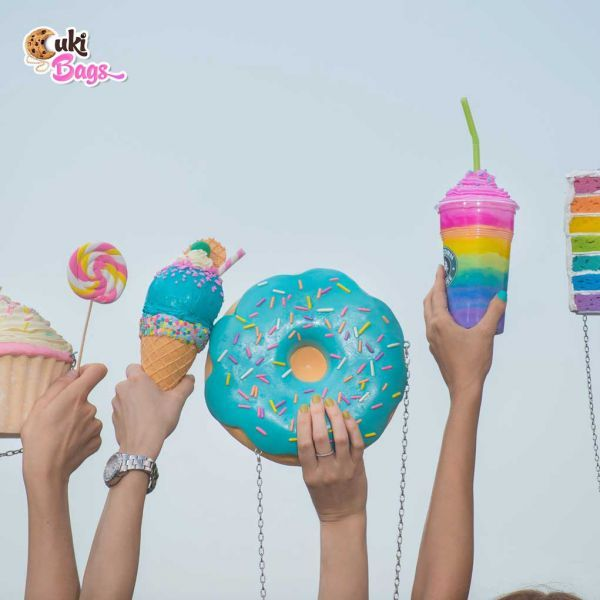 I got my own ring. No, I got my own donut! No, I got my own bag! Yes, I have all of them in this custom made donut ring clutch/purse bag, glazed with blue icing and with rainbow sprinkles. WORLDWIDE DELIVERY - FREE SHIPPING for orders over $200;