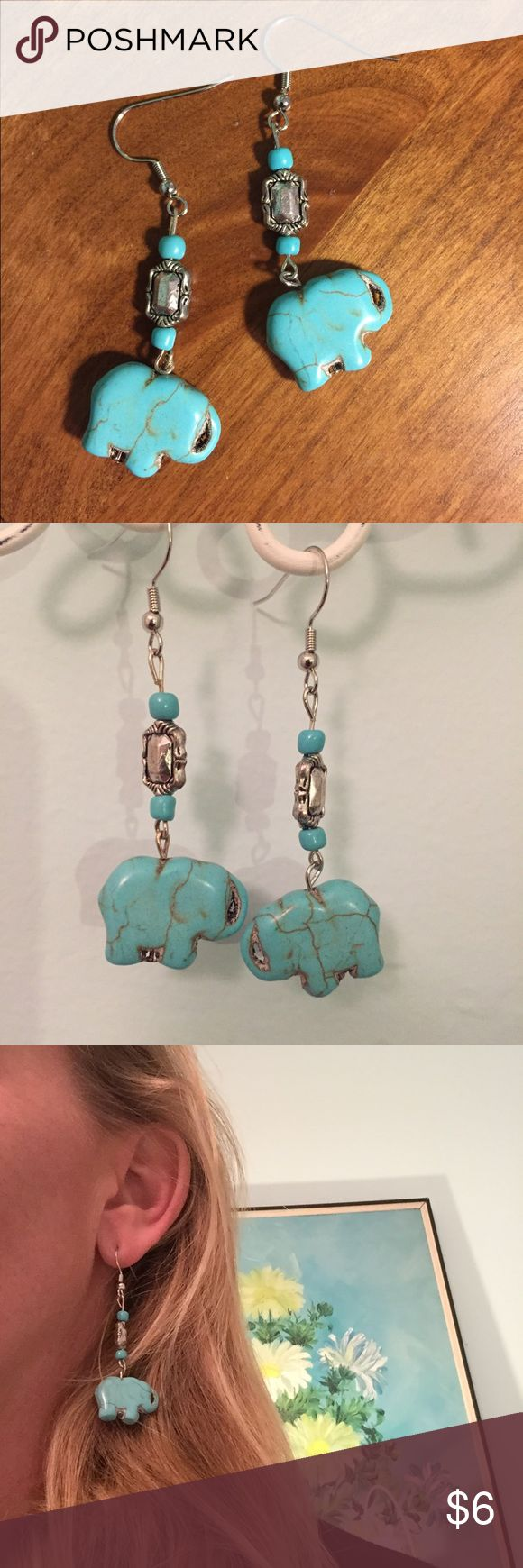 Turquoise elephant earrings Hand made turquoise and sterling dangly earrings Jewelry Earrings