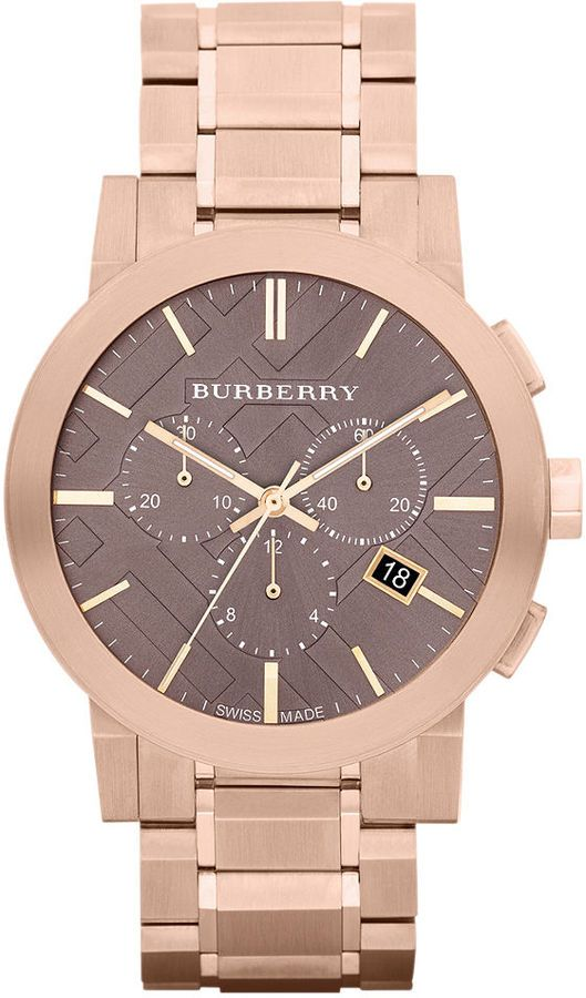 Burberry Watch, Women's Swiss Chronograph Rose Gold Ion Plated Stainless Steel Bracelet