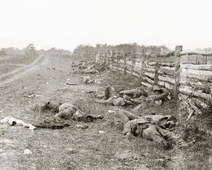 Confederate dead along Hagerstown Pike (Battle of Antietem). The Battle of Antietam was the bloodiest day in American History. There were 23,000 casualties in one day.