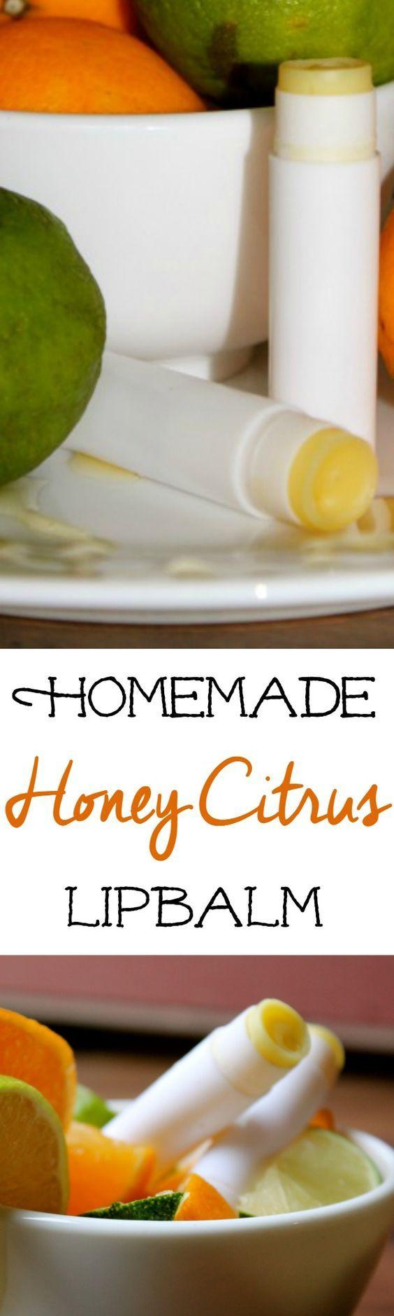 DIY Honey Citrus Lipbalm :: This DIY lipbalm recipe is a fun gift idea!