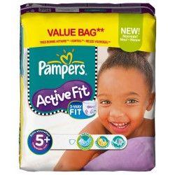 Pack 58 Couches Pampers de la gamme Active Fit de taille 5+ sur 123 Couches