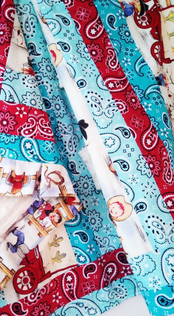 This convertible quilt grows with your baby! Great for attaching sensory or teething toys to the straps after your baby outgrows the car seat! | Little Cowboy Quilt & Baby Car Seat Cover, Vintage Retro Western Southwestern Nursery, Baby Boy, Blue Red Aqua Teal Bandana Minky Fabric, Toddler Sensory Taggie Teething Blanket, Covered Wagon, Arizona, Cactus, Trail Ride, Crib Bedding, Car Seat Canopy, Baby Shower Gift | by Missy Prissy Shop, $45.00 + FREE SHIPPING!