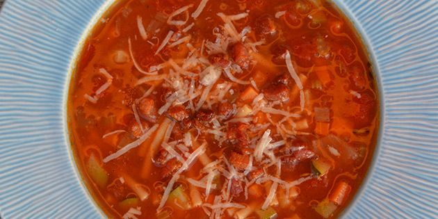 Minestronesuppe med bacon