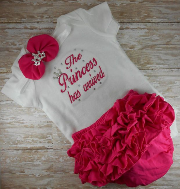 The Princess has arrived SET bloomers headband Pink or Hot Pink embroidered newborn hospital outfit baby girl Bring Home outfit Take Home