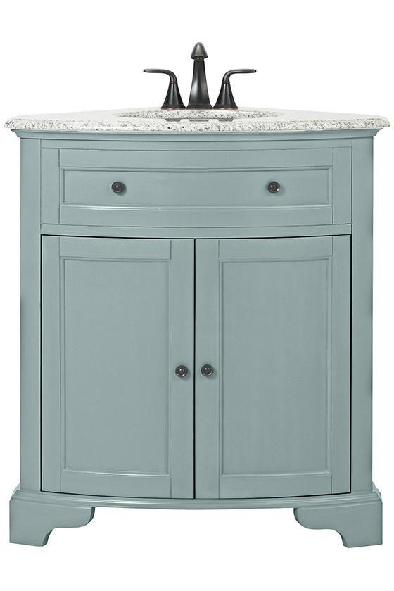 Fresh Powder Room Corner Cabinet