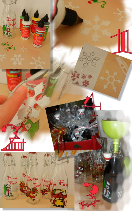 How to? 1. Use the normal window color to make your own christmas decoration or find some images you like, to copy. 2. After one night, when they'r completely dry, stick them on the clean, empty bottle. 3. Fill up the bottle with your homemade spirit and all done!