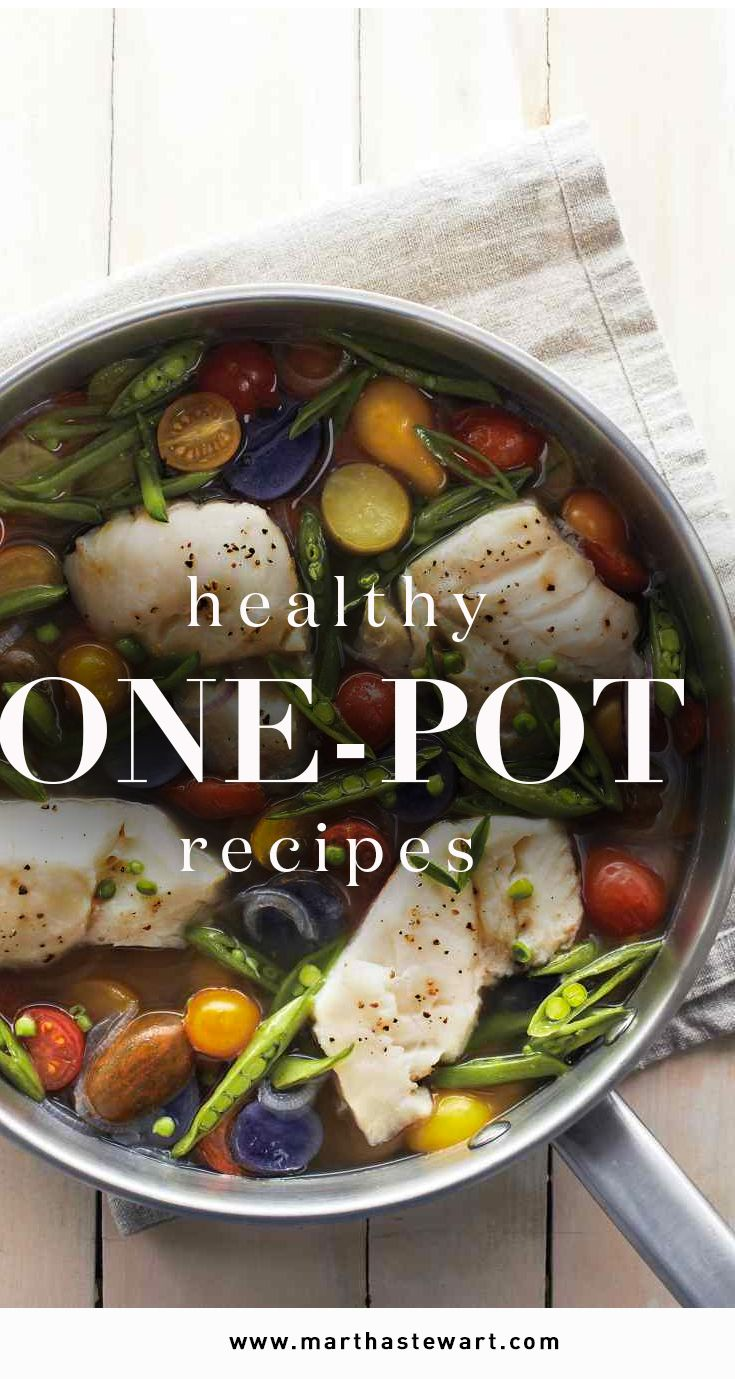 "Healthy One-Pot Recipes | Martha Stewart Living - We're totally behind a healthy and sensible ""everything in moderation"" approach to eating, with an emphasis on whole, unprocessed foods. An easy route to healthy meals is to make dinner in just one pot. Here are some of our favorite recipes."