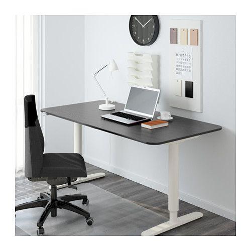 BEKANT Desk sit/stand, black-brown, white black-brown/white 63x31 1/2