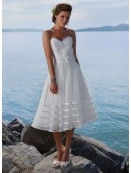 Organza And Satin Strapless Sweetheart Neckline Tea-length Ball Gown Wedding Dress