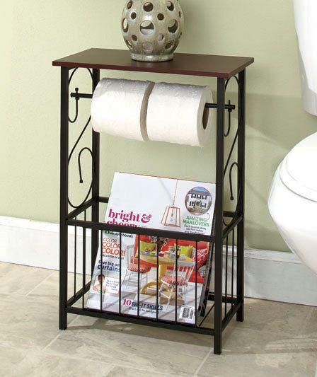 Scrolled Bathroom Storage Table Toilet Paper Holder Magazine Rack Organizer Bathroom Storage