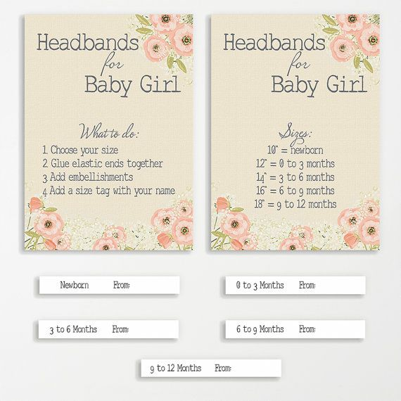 Headband Station Printable Bundle for Baby Shower | INSTANT DOWNLOAD | Shower Game | Baby Girl Shower Pink | Shower Decoration Printable