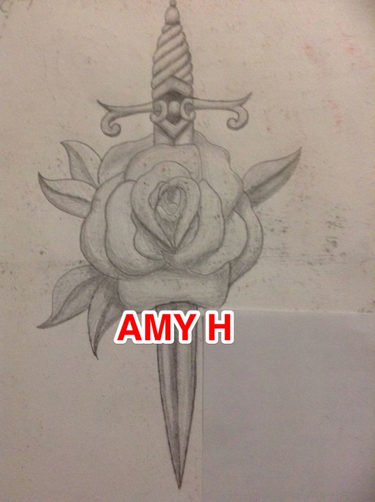 Awesome dagger through rose drawing