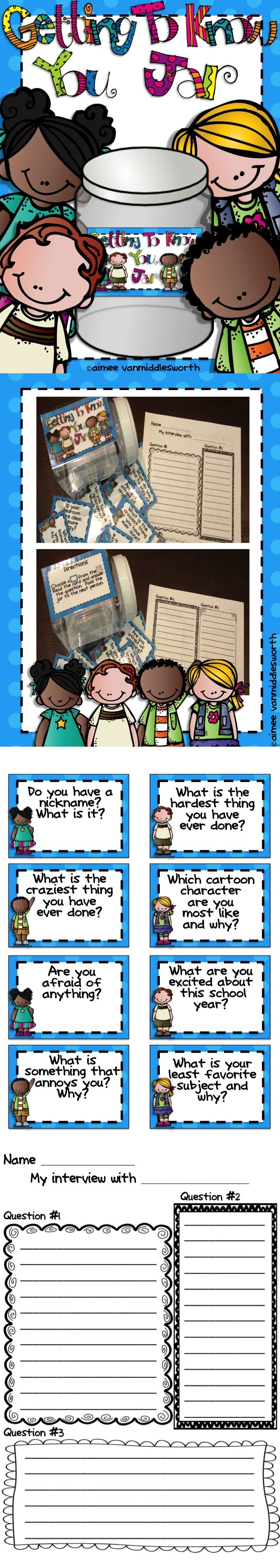 A great getting to know you activity for back to school! Use in literacy rotations. Give students the questions the day before so they can think about their answers