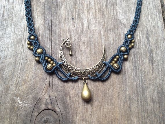 Macrame bohemian moon necklace boho jewelry gift for her