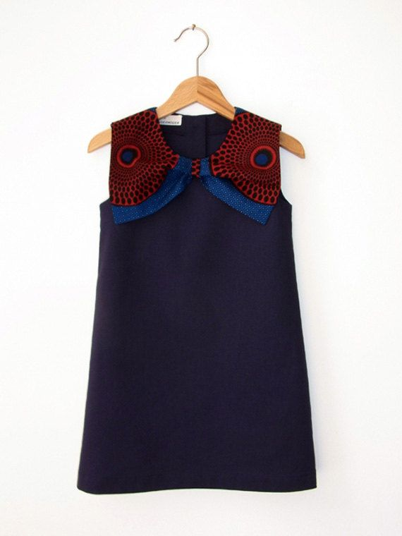 DRESS BO AFRICA, Navy Blue Girl's Summer Dress, Sleeveless with Big Bow Collar in African Wax Print Fabric, Back Button Closure, A-Shape